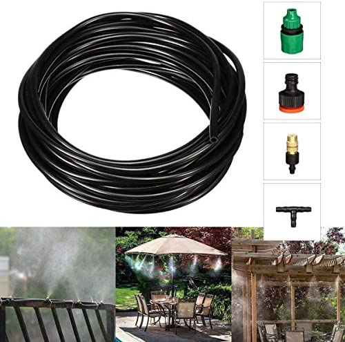 APcjerp Gardening Irrigation Tool Garden Greenhouse Irrigation Watering Kit 10M Cooling Misting System Water Spray Mist Atomizing Hose Nozzles Set Watering Equipment