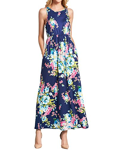 WLLW Women Sleeveless Round Neck Floral Print Pleated Bohemian Beach Maxi (Blend Pleated Dress)
