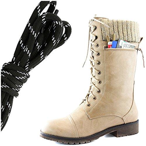 Dailyshoes Womens Bekämpa Stil Snörning Fotled Toffeln Rund Tå Militära Sticka Kreditkorts Kniv Pengar Plånbok Ficka Stövlar, Svart Vit Beige Pu