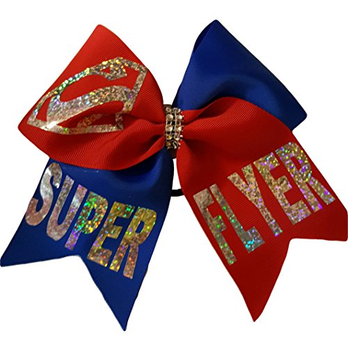 Super Flyer - Cheer bows blue and red SUPER FLYER Holographic Bling Super Man Hair Bow