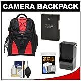 Precision Design Multi-Use Laptop/Tablet Digital SLR Camera Backpack Case (Black/Red) with EN-EL14 Battery and Charger + Accessory Kit for Nikon D3100, D3200, D5100 and D5200, Best Gadgets