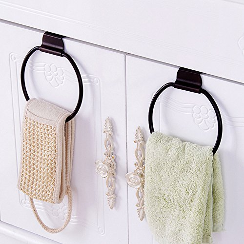 Round Over Door Towel Hanger Hook Towel Drying Rack Bath Towel Holder Ring for Kitchen Bathroom Drawer Heavy Duty (Metal,Pack of 2) by Onesran