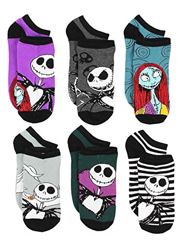Disney The Nightmare Before Christmas Womens 6 pack Socks (9-11 Womens (Shoe: 4-10), Purple)