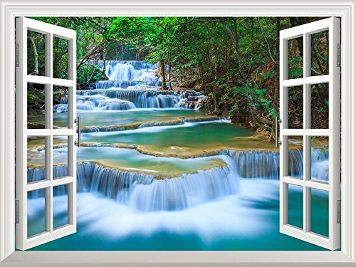 Wall26 Removable Wall Sticker / Wall Mural - Beautiful Landscape of Deep Forest Waterfall inThailand | Creative Window View Home Decor / Wall Decor - (Accent Mural)