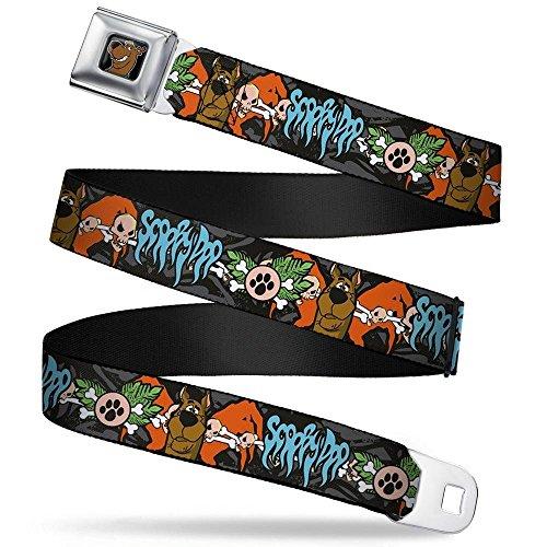 Buckle-Down Seatbelt Belt - SCOOBY DOO Face/Paw & Crossbones Gray/Black/Orange/Blue - 1.5