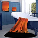 Africa Premium Cotton Extra Large Bath Towel Set Panorama of Safari Animals Gulls Reflections in Background at Sunset Scenery Bathroom hand towels set Burnt Orange Black