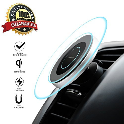 Wireless Car Charger, ABLEGRID Magnetic Fast Charging Car Wireless Charger Qi Certificated Car Charger Wireless for iPhone X/8/8 Plus, Samsung Galaxy NoteS9 8/S 8/S 8+/S 7/S 6 More (Black) from ABLEGRID