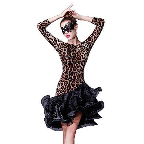 [YC WELL Latin Dance Dress Leopard Women Salsa Rumba Cha Cha Samba Tango Dance Performance Clothes Competition Costumes Party] (Chacha Dance Costume)