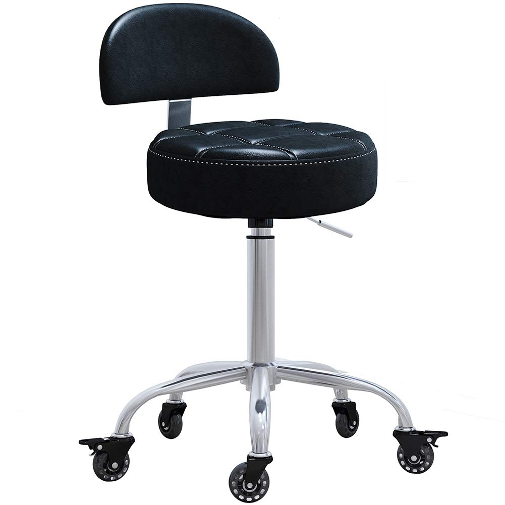 CoVibrant Lockable Stool with Back Ergonomic Rolling Hydraulic Adjustable for Doctor Esthetician Artist Work Small Office Desk