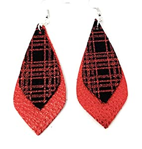 Black and Red Metallic Plaid Stacked Kite Leather Earring for Women Leather Earring Pair Holiday Earrings