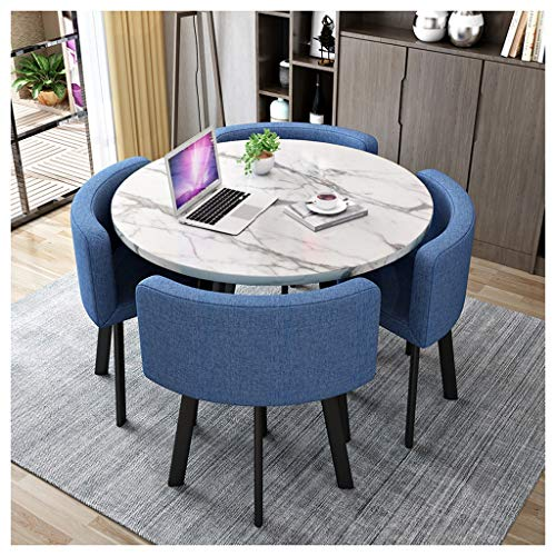 Living Room Kitchen Leisure Table Nordic Table and Chair Combination 1 Table and 4 Chairs Modern Minimalist Reception Table Marble Look Round Table Coffee Shop Beauty Salon Lounge Size: 80cm / 90cm