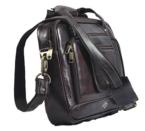 piel bolso portátil auténtica marrón laveri Messenger 423 bandolera cruzado de maletín qfxX1