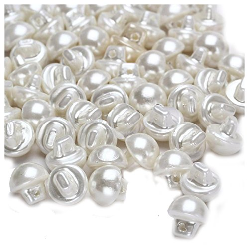 TOOGOO(R) 100Pcs 12mm White Plastic Round Dome Pearl Bead Clothes Craft Fit Buttons Sewing ()