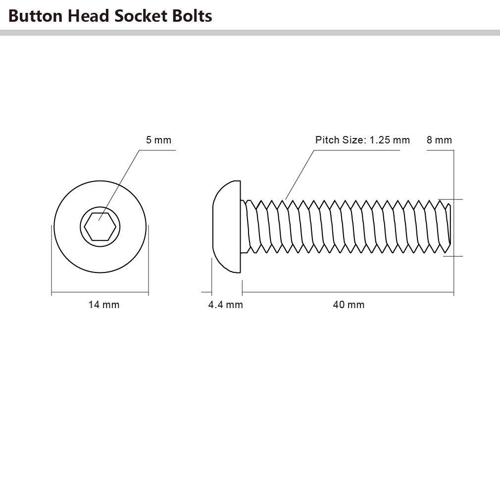 Stainless Steel 18-8 Full Thread M8-1.25 x 40mm Button Head Socket Cap Screws 10 PCS Allen Socket Drive