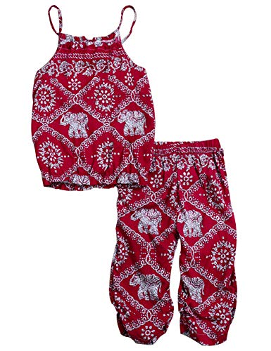 Toddler Girls Clothes Romper Jumpsuit, Elephant Straps Tops+Harem Pants 2Pcs Outfit Set 2-3T Red]()