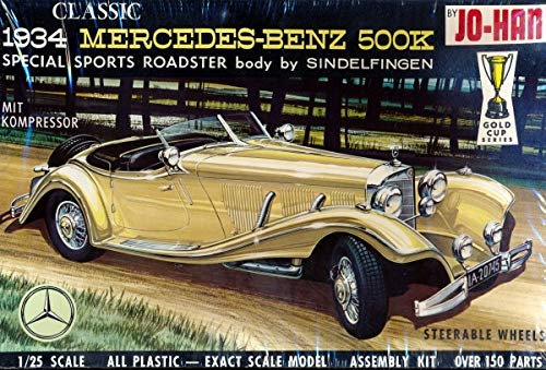 Jo-Han Classic 1934 Mercedes-Benz 500K Special Sports Roadster (Body by Sindelfingen) Vintage 1970s 1/25 Scale Assembly Model Kit