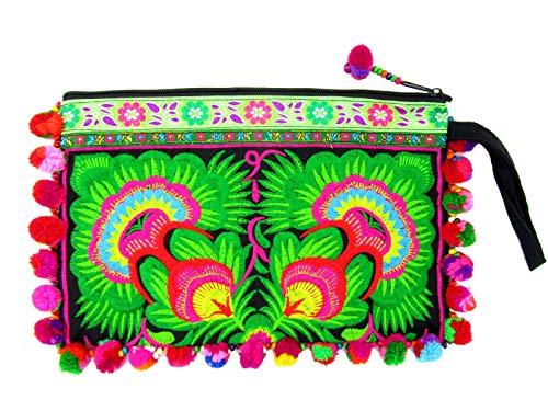 Hmong Fabric Pom Pom Clutch Purse Boho Hill Tribe Bag Cellphone Embroidered Wristlet (Sunflower Midnight Emerald)