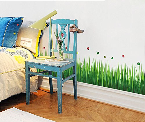 1 X UfingoDecor Green Garden Series Green Grasses Wall Decals, Living Room Bedroom Baseboard Removable Wall Stickers ()