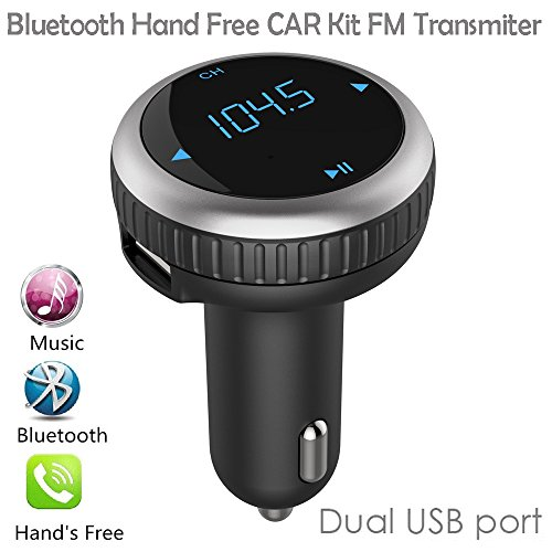 Bluetooth Car FM Transmitter, Piozoon Wireless Bluetooth 4.2 FM Modulator Car Radio Adapter With LED Display Duel 2.1A USB Output MP3 Player Support TF Card USB Flash Drive for Android IOS (Bt 69) - Fm Modulator For Car