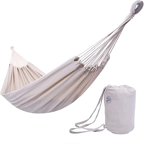 ONCLOUD Extra Long and Wide Double Hammock for Travel Camping Backyard, Porch, Outdoor or Indoor Use, Carrying Pouch Included Beige
