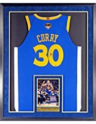 GS Warriors Stephen Curry Autographed Road Blue Jersey w/2018 Finals Patch (w/Inset Photo &NBA CHAMPION & MVP Plate) Framed