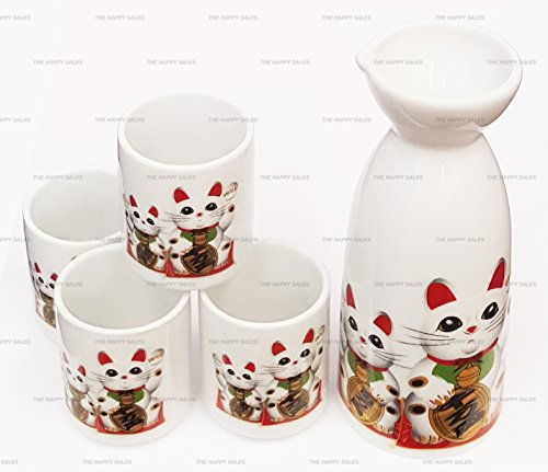 Happy Sales Fortune Cat Maneki Lucky Neko Japanese Sake Set, Maneki Lucky Cat by Happy Sales