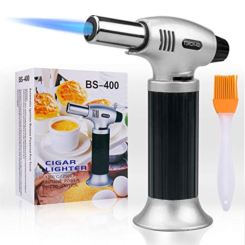 (Culinary Blow Torch, Tintec Chef Cooking Torch Lighter, Butane Refillable, Flame Adjustable (MAX 2500°F) with Safety Lock for Cooking, BBQ, Baking, Brulee, Creme, DIY Soldering& more)