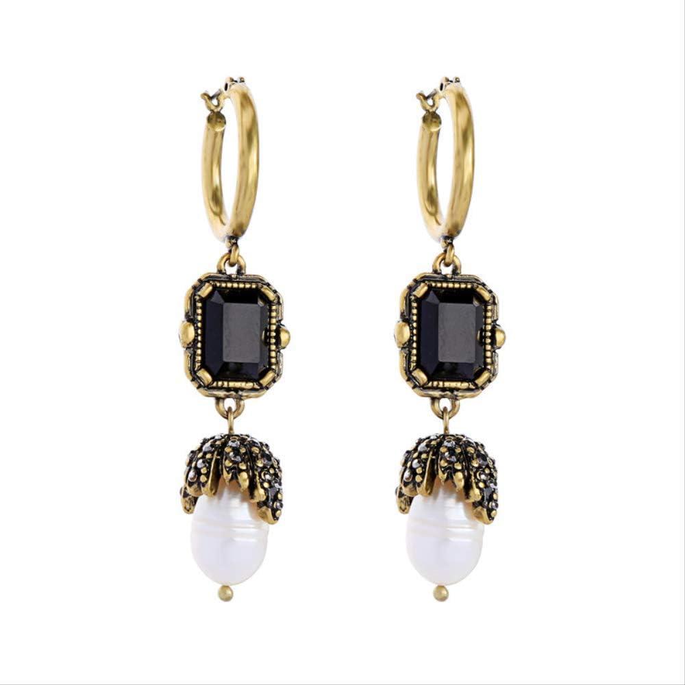 Pendientes de perlas de piedras preciosas geométricas negras temperamento Pendientes salvajes de moda europea y americana