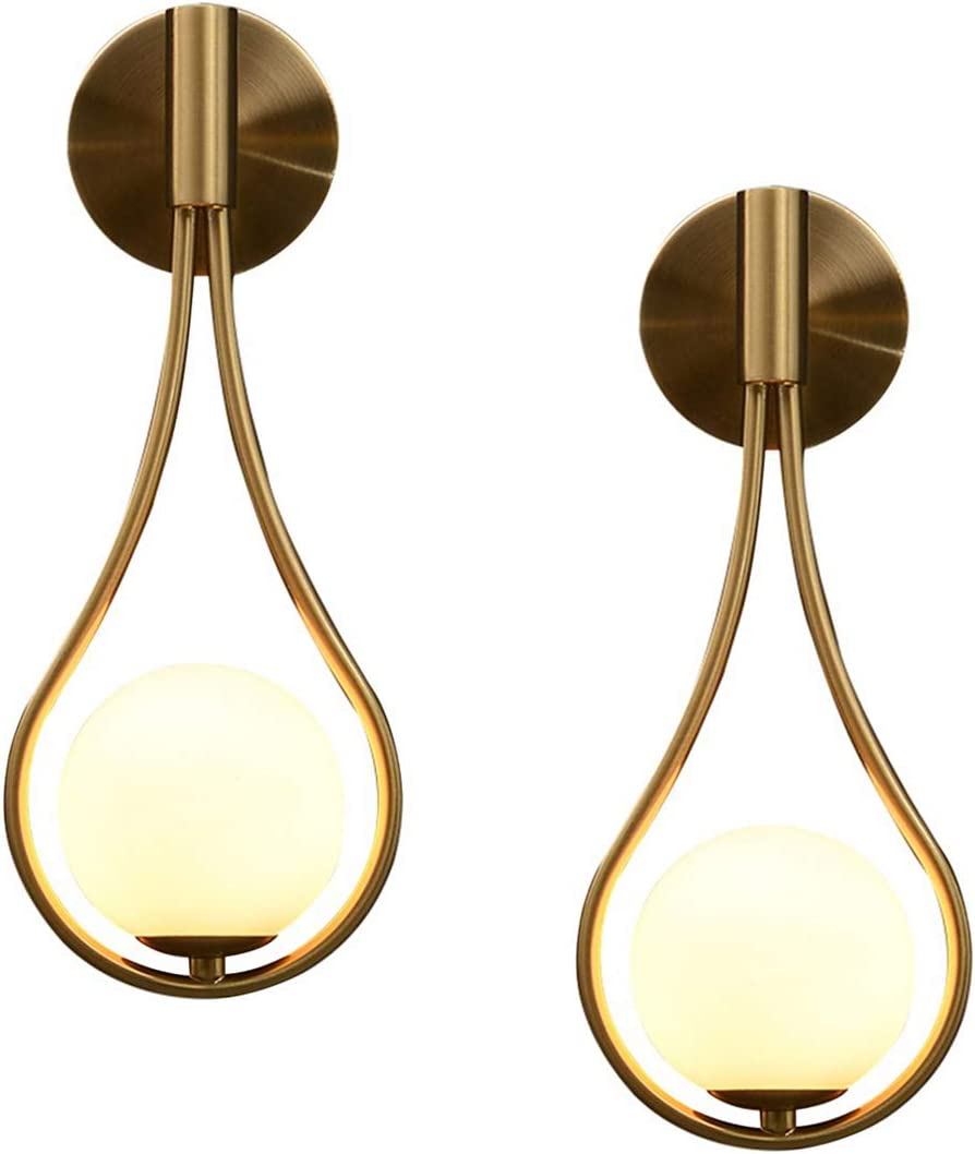 BOKT Modern Wall Lights Gold Glass Globe Wall Mounted Sconces Mid-Century Bedroom Bedsides Water Drop Wall Light Home Decoration (Hardwire- 2Pack)