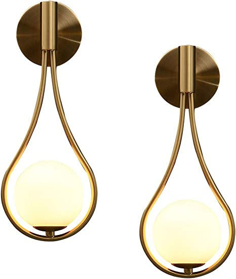 Bokt Modern Wall Lights Gold Glass Globe Wall Mounted Sconces Mid Century Bedroom Bedsides Water Drop Wall Light Home Decoration Hardwire 2pack Amazon Com
