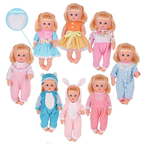 3y Baby Clothing (9 Sets for 14-16 Inch Alive American Girl Clothing Dress Baby Doll Clothes Costumes Gown Handmade Outfits with Underwear Birthday Xmas Gift-wrap)