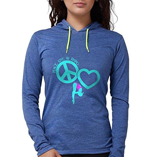 CafePress - Peace-Love-Diving Long Sleeve T-Shirt - Womens Hooded Shirt Heather -