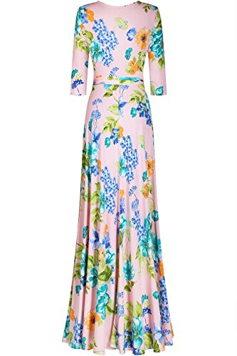 Bon Rose Maxi Floral V-cou À Manches Longues Femmes Robe Portefeuille Floral Bohème Floral De La Pêche