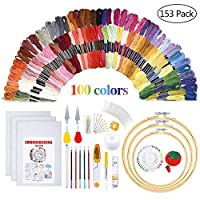 Embroidery Starter Kit - Embroidery Kit Including 100 Color Threads,5 PCS Bamboo Embroidery Hoops, Circular Packing Bag and Cross Stitch Tools for Adults and Kids Beginners