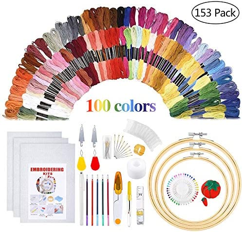 Embroidery Starter Kit - Embroidery Kit Including 100 Color Threads Instructions 5 PCS Bamboo Embroidery Hoops Circular Packing Bag and Cross Stitch Tools for Adults and Kids Beginners