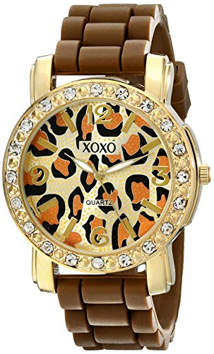 - XOXO Women's XO8057 Rhinestones Accent Brown Silicone Strap Watch