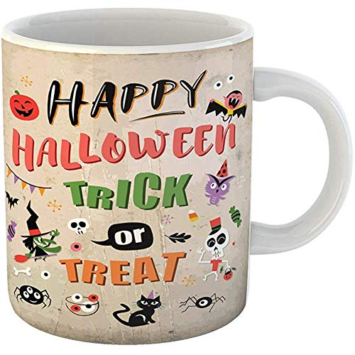 Funny Coffee Tea Mug Gift 11 Ounces Funny Ceramic Bat Happy Halloween Trick Treat Broomstick Candy Gifts For Family Friends Coworkers Boss Mug