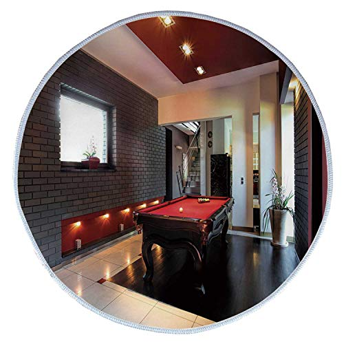 YOLIYANA Modern Decor Comfortable Round Pet Rug,House with Snooker Table Hobby Pool Game Flat Furniture Leisure Time Print for Pet,Diameter 23 Inches