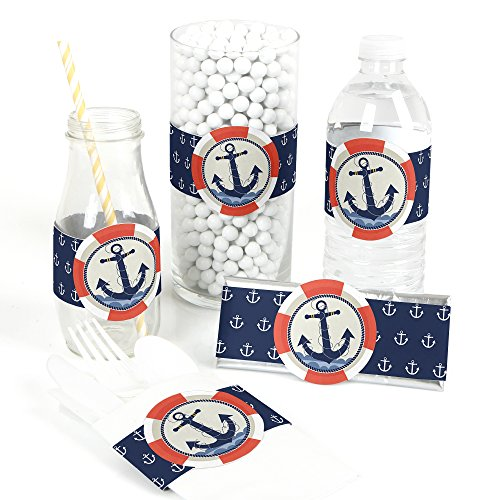 Ahoy - Nautical - DIY Party Supplies - Baby Shower or Birthday Party DIY Wrapper Favors & Decorations - Set of 15 ()