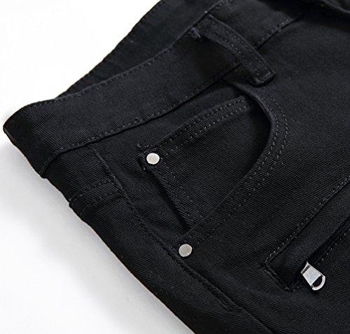Strappati Nero Moto Corti Mode Pantaloncini Sguardo Uomo Yiiquan Jeans Pantaloni Denim Distrutto Casuale xqwZFpZnY7