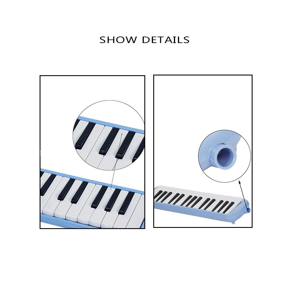 Melodica Musical Instrument Cartoon Kids Piano Keyboard Style Melodica Durable ABS 32 Keys With Portable Carrying Case Kids Musical Instrument Gift Toys For Music Lovers Beginners 2 Mouthpieces Tube S by Shirleyle-MU (Image #6)