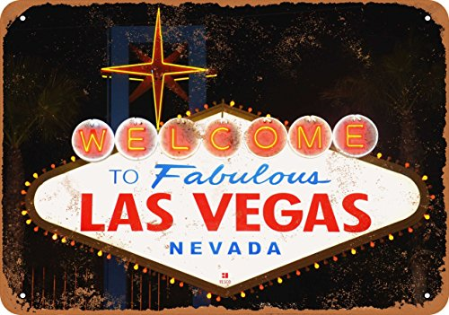 - 10 x 14 Metal Sign - Welcome to Fabulous Las Vegas - Vintage Look