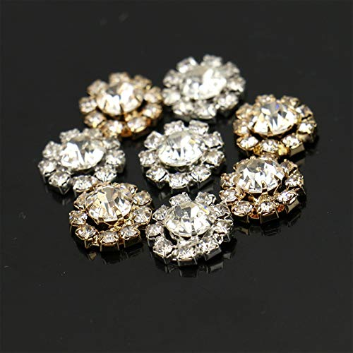 WSSROGY 30Pcs Rhinestone Crystal Glass Buttons Embellishments Bulk for Craft (Gold and ()