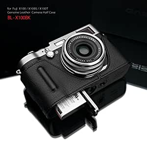 Gariz Genuine Leather BL-X100BK Camera Metal Half Case for Fuji Fujifilm X100 X100S with Hand Grip, Black Label Edition
