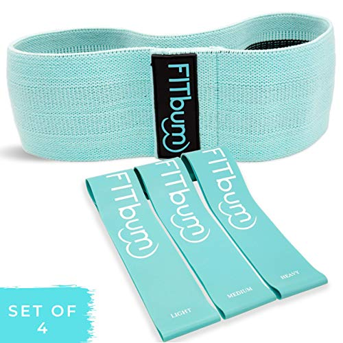 FITbum | Premium Bundle Non-Slip Resistance Loop Glute Band + 3 Latex Resistance Bands & Exercise Guide | Booty Band