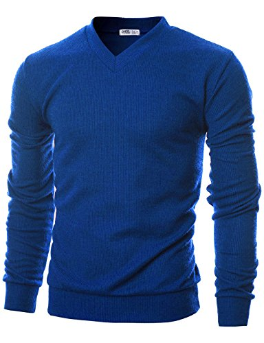 Ohoo Mens Slim Fit Ribbed Fabric Light Weight V-Neck Pullover Sweater/DCP045-BLUE-2XL ()