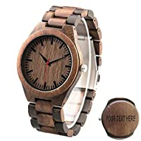 Personalized Engraving Men's Wooden Watch - Best Man Groomsmen Gift - Walnut Wooden Watch Free Engraving