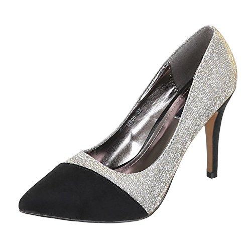 Damen Schuhe, M808, Pumps High Heels Grau Schwarz