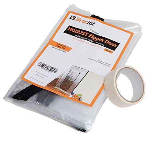 U Shape Zipper Door dust Sheet with pre-Assembled 4m Zipper. 180cm x 220cm. with Masking Tape 36mm x -