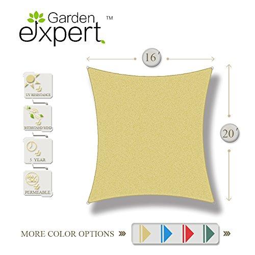 16' Garden (Garden EXPERT 16'x20'knitting Sun Shade Sail for Garden,Outdoor and Patio,Rectangle,Sand)